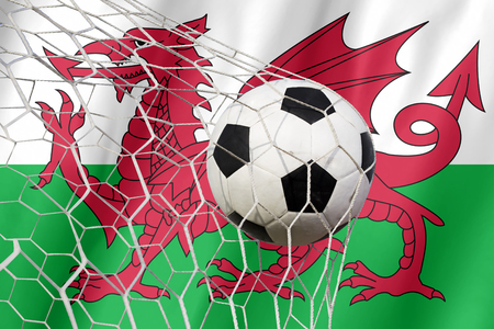 wales: Wales flag and soccer ball Stock Photo