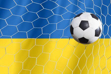 ukraine flag: Soccer Background with Ukraine Flag Stock Photo