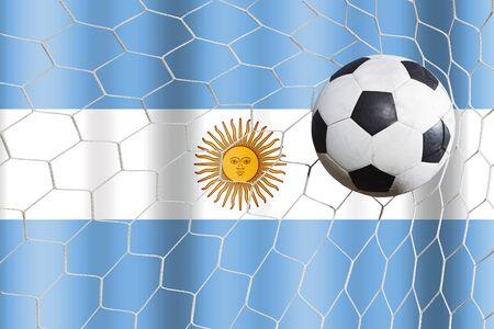 bandera argentina: bal�n de f�tbol y la bandera de Argentina