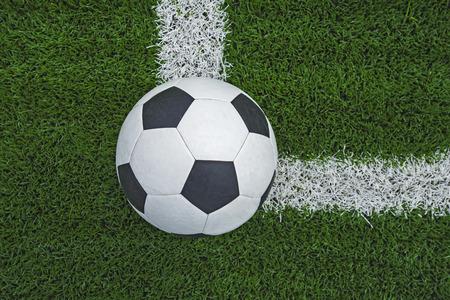 ballsport: soccer ball on soccer field