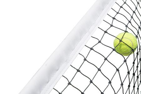 Tennis ball in net white background