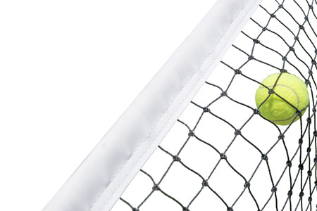 Tennis ball in net white background