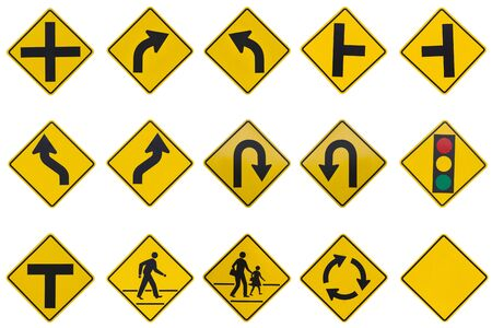 street sign: yellow road signs, traffic signs set on white background
