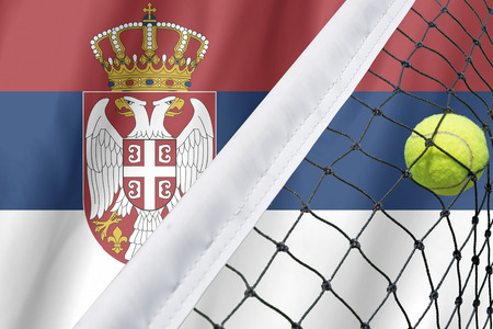 serbia flag: Serbia Flag Background and tennis ball on net