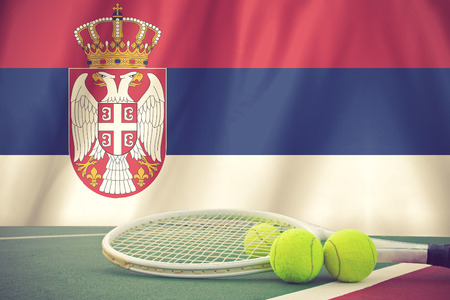 serbia flag: Serbia Flag Background and tennis ball and tennis racket vintage color Stock Photo