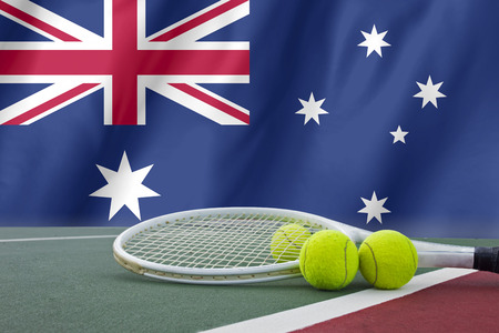 open: Australian open tennis concept with flag and ball Stock Photo