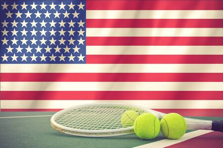 us open: US Open tennis concept with flag and ball vintage color