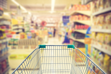 shopping cart in supermarket vintage color Standard-Bild