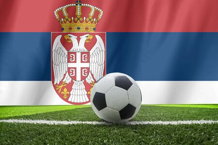 serbia: Serbia flag and soccer ball Stock Photo