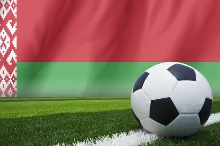 multi national: Belarus flag and soccer ball