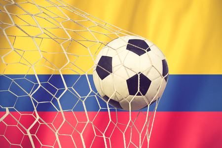american flags: soccer ball on columbia flag vintage color