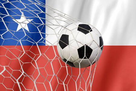 bandera de chile: balón de fútbol en la bandera Chile