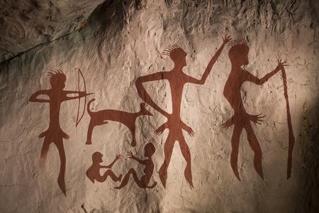 pintura rupestre: Reproducci�n de una muestra de pintura rupestre prehist�rico