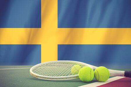 sweden flag: Sweden Flag and Tennis Ball vintage color
