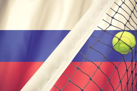 russia flag: Russia Flag and Tennis Ball vintage color Stock Photo