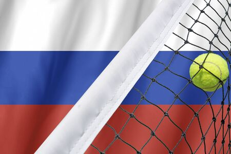 spectators: Russia Flag and Tennis Ball
