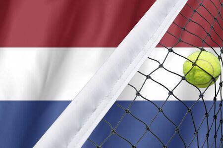 netherlands flag: Netherlands Flag and Tennis Ball on
