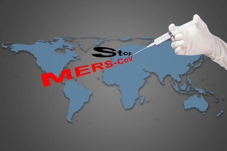 needle syringe infection: holding syringe inject Stop MERS-CoV text for the World