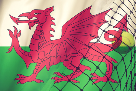 Tennis ball on Wales flag background.vintage color Stock Photo