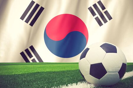 b ball: Flag of South Korea with a football in a field vintage color
