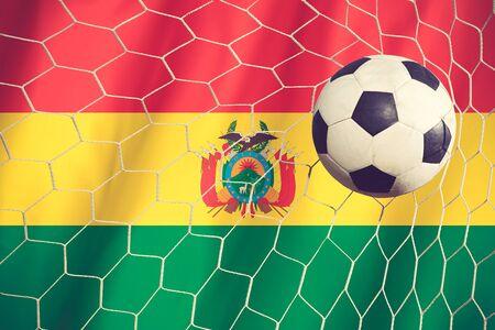 bandera de bolivia: Bandera de Bolivia con el color de la bola del f�tbol del vintage