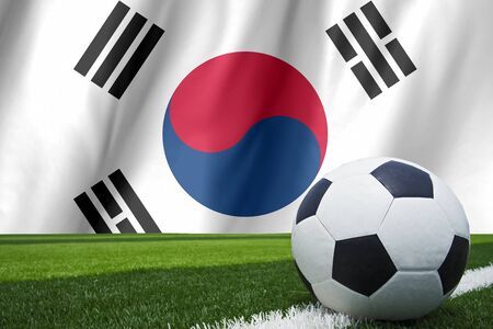 b ball: Flag of South Korea with a football in a field