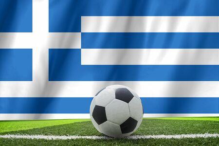 footbal: Soccer ball on Greek grunge flag