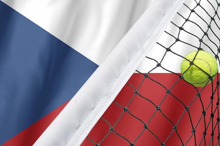 Tennis ball in net on CZECH flag background. Standard-Bild