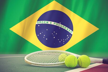 spectator: Brazil Flag and Tennis Ball vintage color Stock Photo
