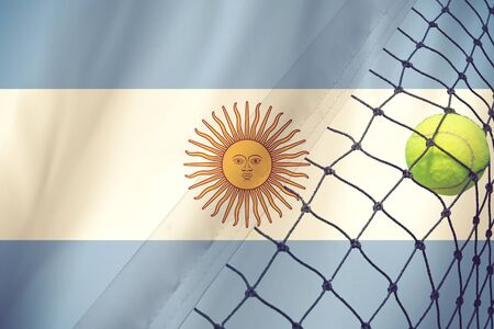 argentina flag: argentina Flag and Tennis Ball vintage color Stock Photo