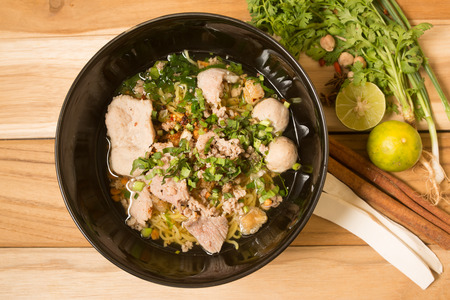 successively: noodle with minced pork on wooden table Stock Photo