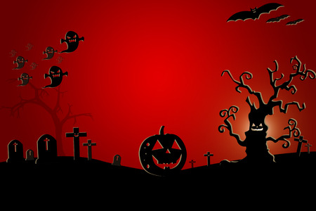 night background: Halloween background wtih spooky bats and pumpkins.Space for your Halloween holiday text.