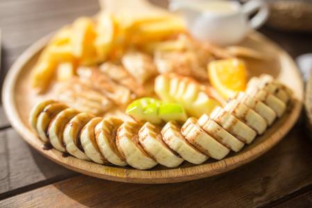 browned: Honey toast with sliced banana Stock Photo