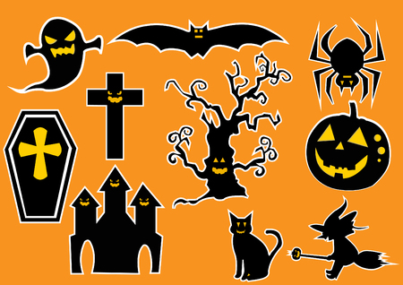 the attributes: Halloween vector symbols and characters collection.Vector Illustration.Trick or Treat Concept. Scrapbook, design elements. Halloween background with silhouettes. Halloween attributes.