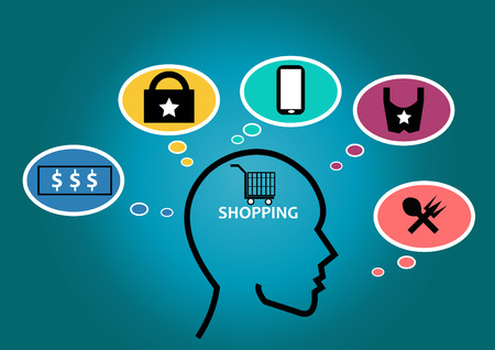 Brain with icons shopping concept