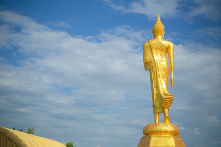 public domain: Golden Buddha statue of Big Buddha over blue sky.They are public domain or treasure of Buddhism, no restrict in copy or use