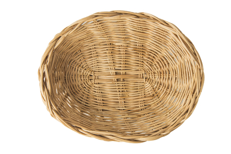 Brown wicker basket top view isolated on white background