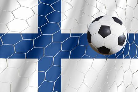 Finland flag and soccer ball, football in goal net