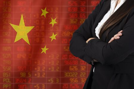 negative returns: Flag of China. Downtrend stock data diagram with business woman