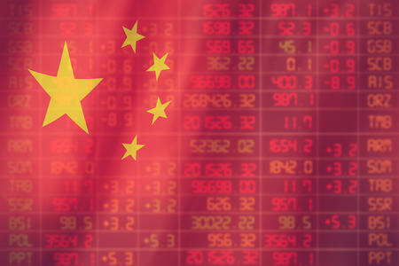 market crash: Flag of China. Downtrend stock data diagram vintage color Stock Photo
