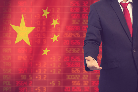 negative returns: Flag of China. Downtrend stock data diagram with business man with empty hand vintage color Stock Photo