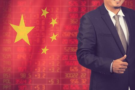 negative equity: Flag of China. Downtrend stock data diagram with business man vintage color Stock Photo