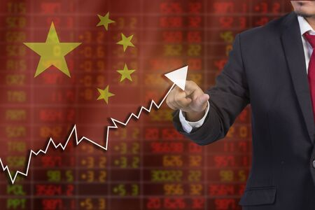 negative equity: Flag of China. Downtrend stock data diagram with Business man pushing on a touch screen interface analyze solution ideas concept design Stock Photo
