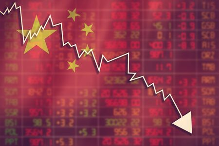 negative returns: Flag of China. Downtrend stock data diagram vintage color Stock Photo