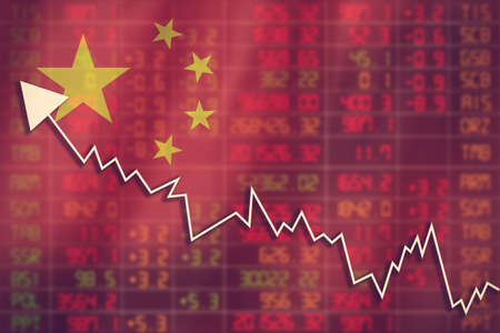 fallout: Flag of China. Downtrend stock data diagram