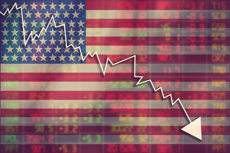 shareholding: Crisis in USA - Shares Fall Graph on United States of America Flag