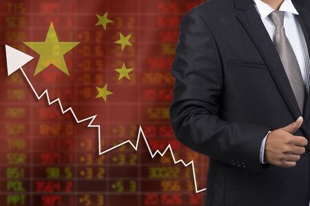 negative returns: Flag of China. Downtrend stock data diagram with business man Stock Photo