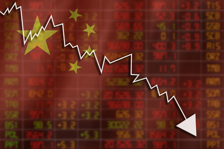 negative equity: Flag of China. Downtrend stock data diagram