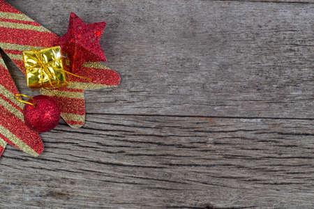 chrismas: Chrismas baubles and vary of decoration on wood background Stock Photo