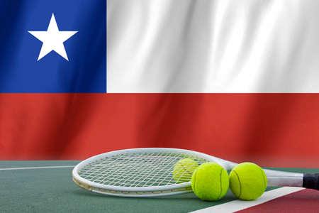 flag of chile: Pelota de tenis en la red en Chile fondo de la bandera.